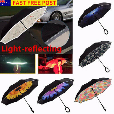 AU Women Protection Upside Down Reverse Inverted Umbrella C-Handle Double Layer