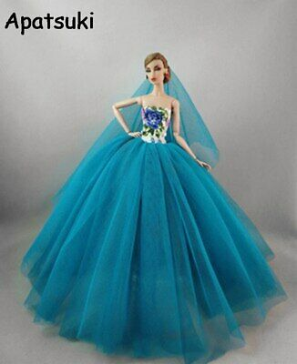 Chinese Flower Floral Fashion Dress For Barbie Doll Clothes Gown Outfits 1/6 Toy