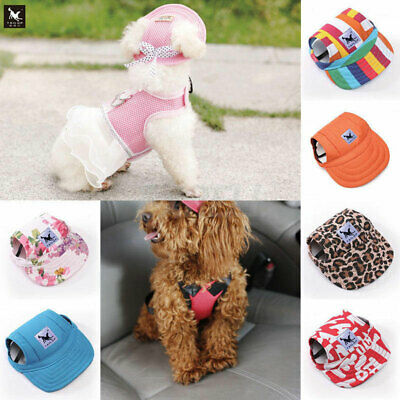 Dog Hat With Ear Holes Canvas Baseball Cap for Small Pet Dog Outdoor Accessories