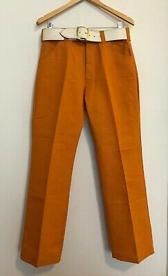 1970s Vintage Orange Mens Flared Pants with White Belt. Heavy Cotton Size Small