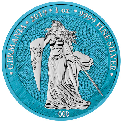 Germania 2019 5 Mark Germania Space Blue 1 Oz Silver 500pcs only