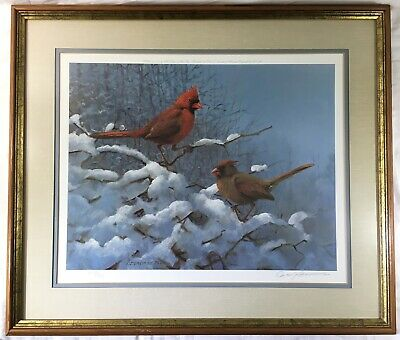 1972 OWEN J. GROMME Cardinals In The Snow Signed Numbered Framed Matted Print