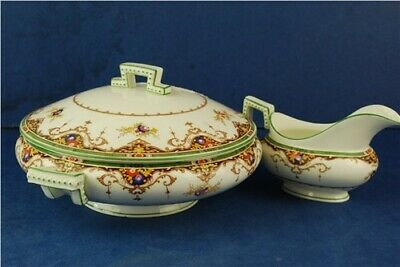 Cauldon China -    Gravy Boat and Round Vegetable Serving Dish with Lid