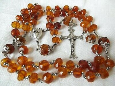 Large Antique French Silver Baltic Amber Rosary w/Big Beads Cross Stanhope Heart