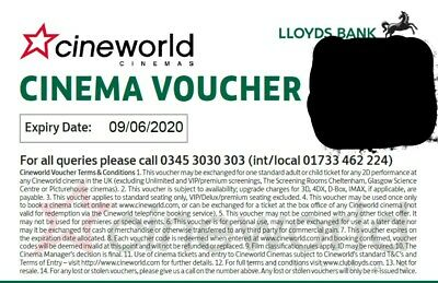 6 * Cineworld Cinema tickets for any day - valid till 09/06/2020 *Instant Email*