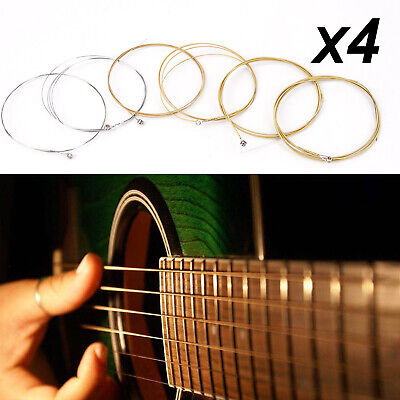 24 X Acoustic Guitar Strings Silver Gold Set Medium Gauge Replacement