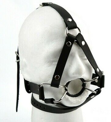 STRICT Head Harness OPEN MOUTH gag black soft luxury leather handcrafted ga17blk