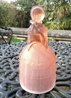 "Antique English Art Deco Jobling Pink Frosted Glass Figure ""Crinoline Lady"" 1937"