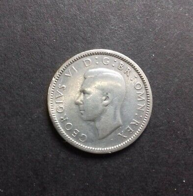 1944 King George VI silver sixpence coin
