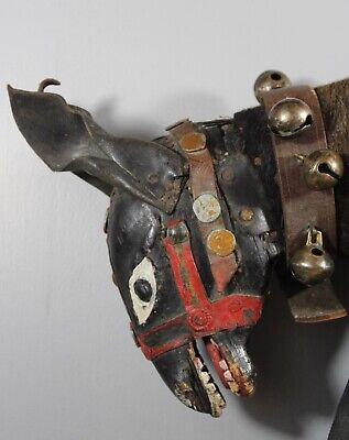 HAND-CARVED FRENCH MARIONETTE DONKEY'S HEAD | 1860s | CARVED WOODEN TEETH