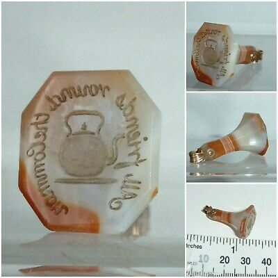 Victorian Seal Fob Agate 9ct Gold Motto Proverb All friends round the common
