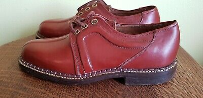 """Vintage 1940's French Mens Red Tan Brown Leather lace up Excella Shoes 10"""""""