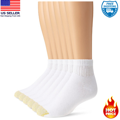 Ankle Sock 6-Pack 13-15, Shoe 12-16 White Gold Toe Mens Cotton Big Tall Quarter