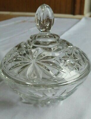 Pressed Glass Candy Dish Covered Vintage Mid-Century Floral Design