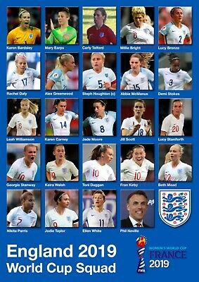England Women's World Cup Poster - SQUAD - France 2019 #3 - A3 - 420mm x 297mm