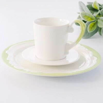 Vienna Porcelain Teacup Set 3pc Tea Cup Saucer Cake Plate Pale Green & White