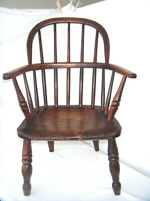 SUPERB  ANTIQUE, EARLY 1800s,  CHILDS WINDSOR ARMCHAIR IN ELM AND ASH