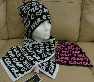 BNWT Juicy Couture Black Label Beanie Hats & Scarf Set
