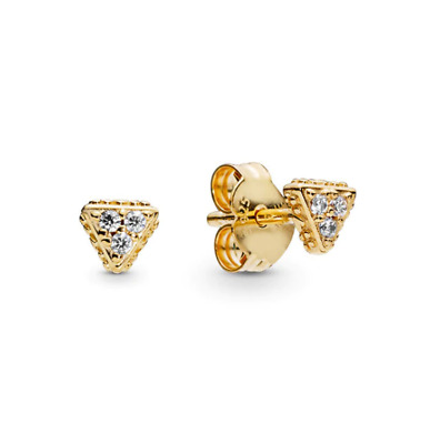 925 Sterling Silver EARRINGS Sparkling Triangles Stud Gold Shine Pandora 2019