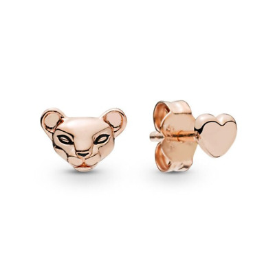 925 Sterling Silver Sparkling Lion Princess and Heart Stud EARRINGS Rose