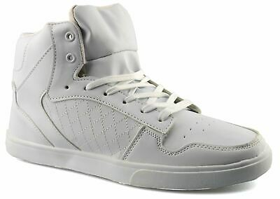 Mens Hi Top Lace Up White Skate Ankle Boots Trainers Shoes Size