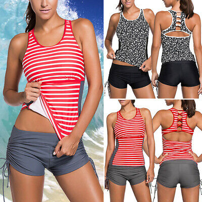 15f7f95618 Women Push Up Tankini Bikini Set Tank Top Boy Shorts Padded Bra Summer  Swimwear