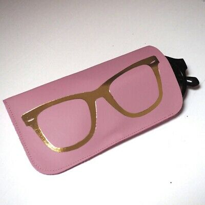 Baby Pink Leather Sunglasses Case With Gold Foil Glasses By STABO