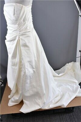High Society By Jacquie Lawrence Ivory Strapless Beaded Wedding Dress Size 14