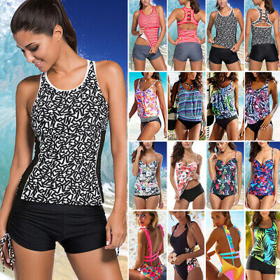 18ad16580f Women's Push Up Padded Tankini Bikini Set Tank Top Boy Shorts Swimsuit  Swimwear
