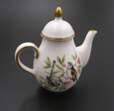 Spode Miniature China Coffee Pot, Bird in Foliage Pattern Immaculate Dolls House