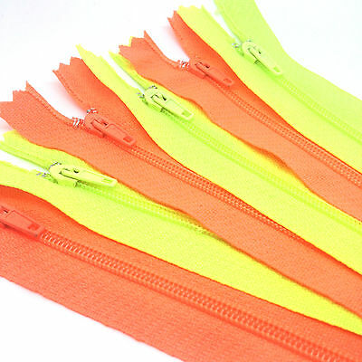 5 x Neon Green or Orange Nylon Autolock Zips for sewing & crafts - 4 lengths