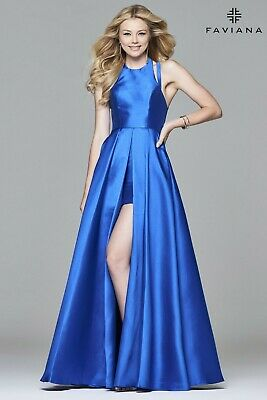 NEW NWT $398 FAVIANA 7752 Celebrity worn royal blue evening dress gown sz 6