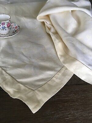 Vintage Yellow And White Floral Heavy Damask Linen Reversible Tablecloth