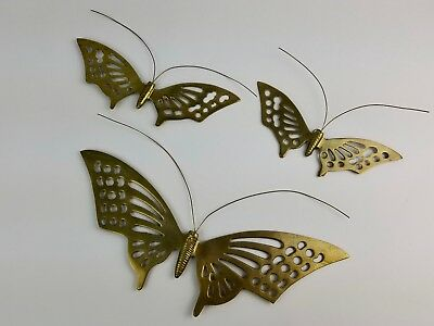 Set of 3 Vintage Solid Brass Butterflies Wall Hanging Butterfly with Antenna