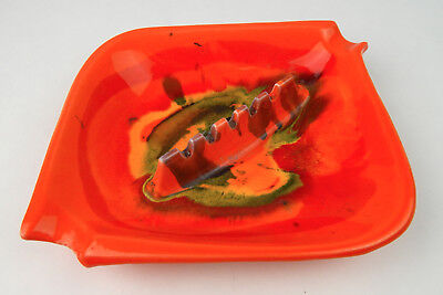 Psychedelic Mid-Century Orange & Green Glazed USA Ashtray California USA pottery
