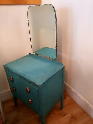 Art Deco Vintage Dressing Table w Mirrow Solid Wood Blue Gold Handles 1930s