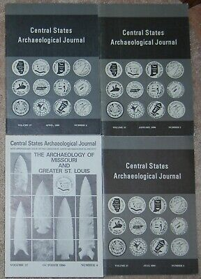 CENTRAL STATES ARCHAEOLOGICAL JOURNAL complete set Vol 37 no 1,2,3 & 4 1990