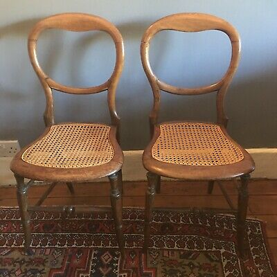 Pair of Antique Victorian Walnut Balloon Back Dining Chairs