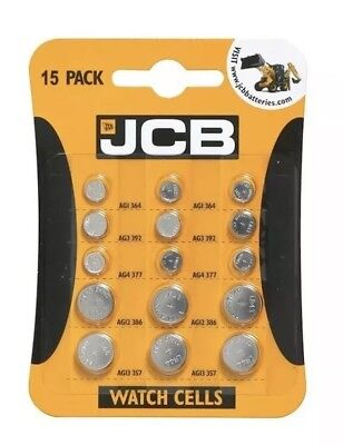 15 Assorted Jcb Watch Cell Batteries Mixed Pack 3X5 Most Popular Sizes Brand New