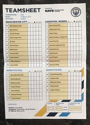 Man City Women V Liverpool Ladies  31.03.2019 Official Teamsheet