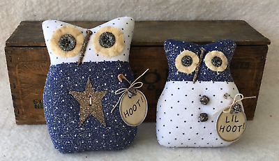 Primitive Ornies OWL Pair Prim Ornies Bowl Fillers Make Do's Tucks Dark Blue