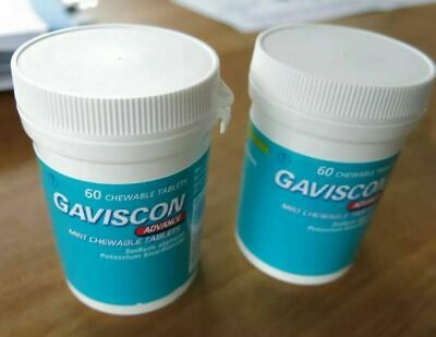 Gaviscon Advance Chewable Tablets Mint Pack of 2 exp 10/2020 Free shipping