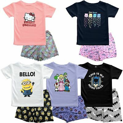 Boys Girls Ex-Primark Pyjamas Shirt & Shorts Set Lounge PJ's Printed Designer