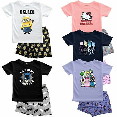 Boy Kids Ex-Store Batman Super Mario Minion Pyjama PJs Shirt Shorts Set Age 2-15