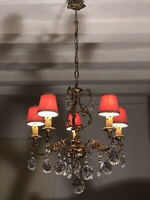 Vintage French Chandelier 5 Arm Crystal Ceiling Light With Matching Sconces