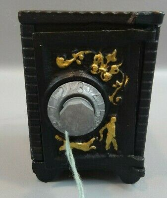 Antique Cast Iron Embossed Combination Safe Coin Still Piggy Bank USA