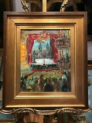 OIL PAINTING Walter Sickert Style LARGE CIRCA 20TH CENTURY of an old Theatre