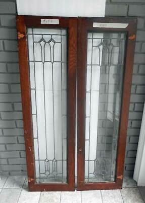 Antique LEADED (STAINED) PAIR GLASS WINDOW / DOORS  ORIG. FRAME  (R103)