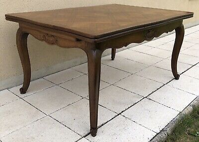 Antique French Oak Parquetry Extending Dining Table