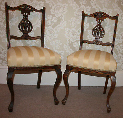 Pair Antique Occassional Chairs Chippendale Irish Solid Wood Hand-Carved Gold
